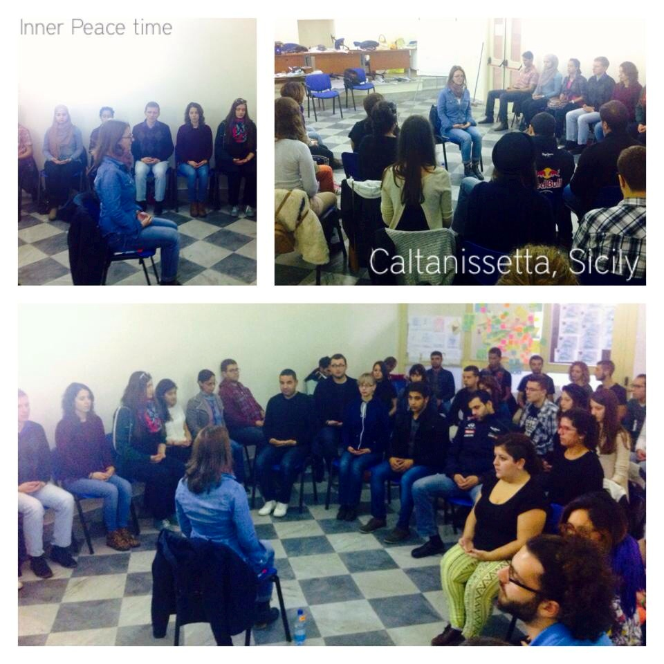 Meditation session during Lets ACT training in Sicily