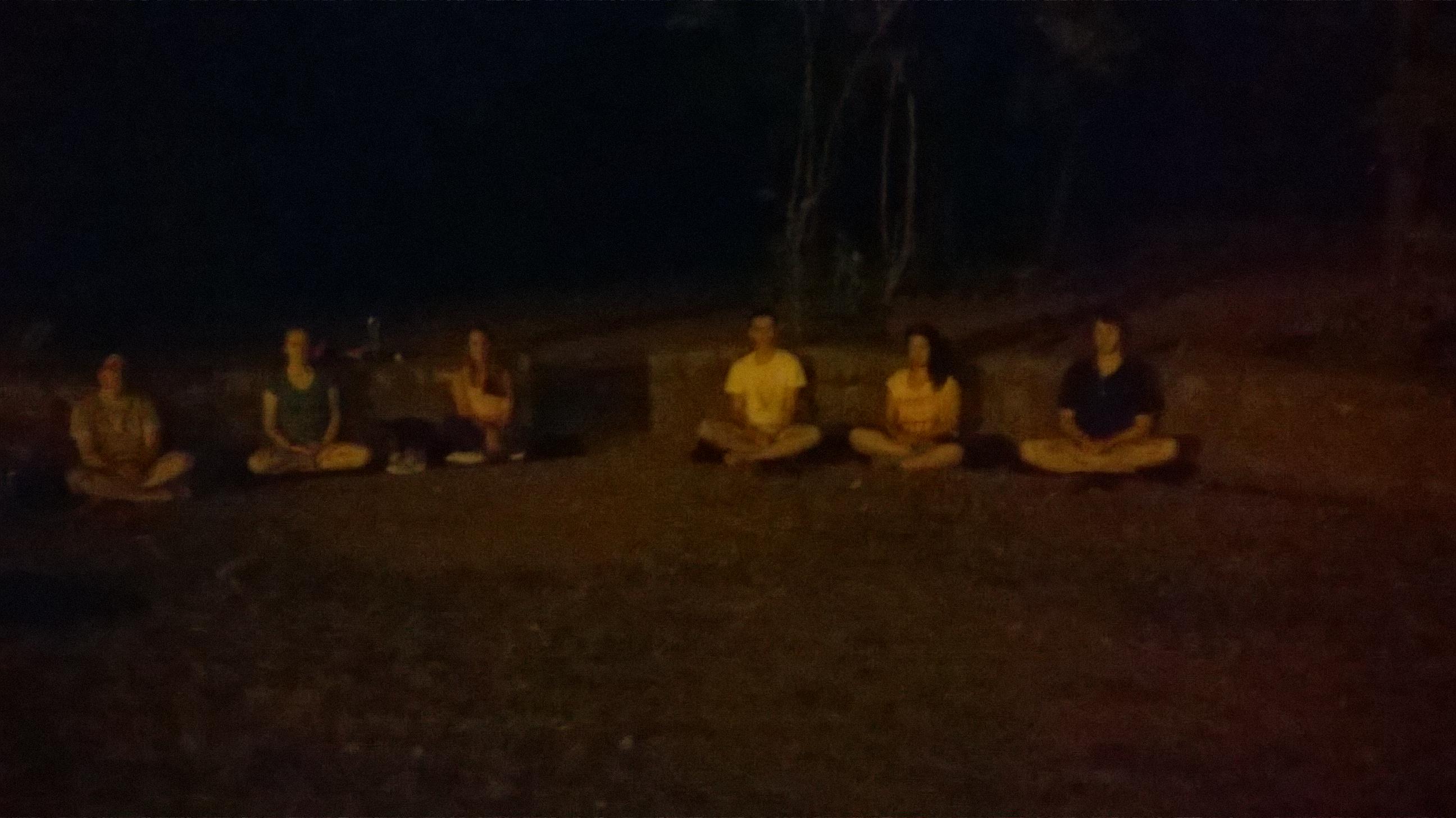 Meditation session at dusk