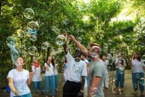 Peace Agents enjoying a bubble game
